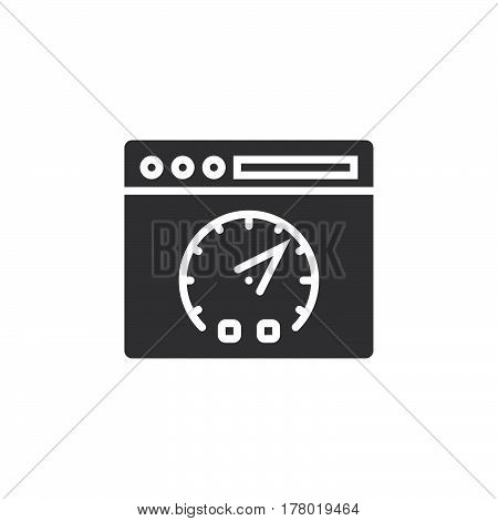 Website speed test symbol. Webpage and dashboard icon vector filled flat sign solid pictogram isolated on white logo illustration