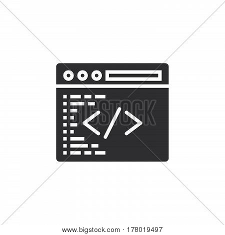 Custom coding symbol. Programming icon vector filled flat sign solid pictogram isolated on white logo illustration