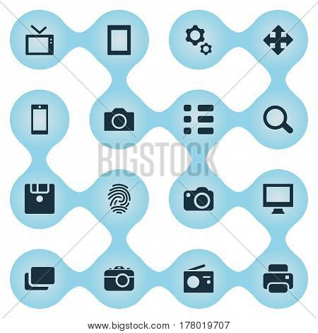 Vector Illustration Set Of Simple Digital Icons. Elements Save, Television, Photocopier And Other Synonyms Layout, Smartphone And Magnifier.