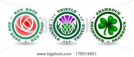 Collection of round logotypes with rose,thistle, shamrock. National symbols of England, Scotland, Ireland