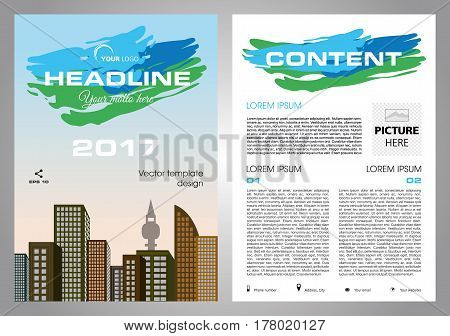 Vector flyer corporate business annual report brochure design and cover presentation with blue and green stroke.
