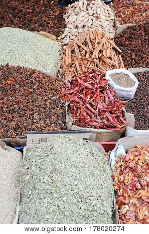 Alleppey, India - 21 January 2015: Indian spices at the market of Alleppey