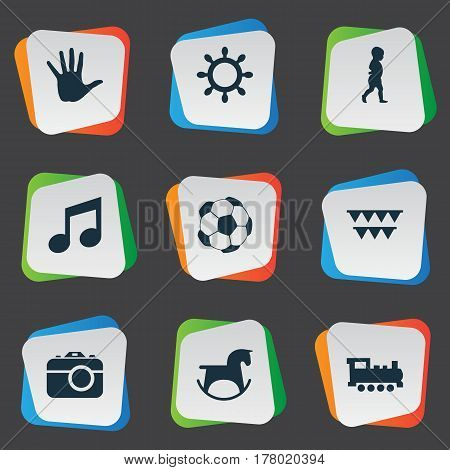 Vector Illustration Set Of Simple Kid Icons. Elements Melody, Camera, Palm And Other Synonyms Direction, Carnaval And Finger.