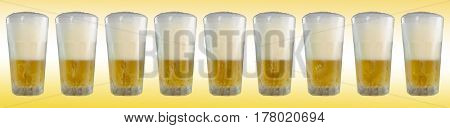 Cold glasses of  beer with gradient background, panorama image