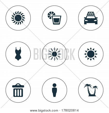 Vector Illustration Set Of Simple Seaside Icons. Elements Bikini, Garbage, Sun And Other Synonyms Palm, Woman And Beachwear.
