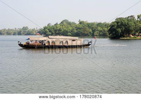 Kollam India - 20 January 2015: Traditional Indian houseboat near Kollam on Kerala backwaters