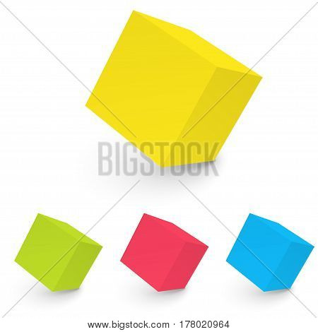 3D abstract white cube isolated on white background. Vector illustration