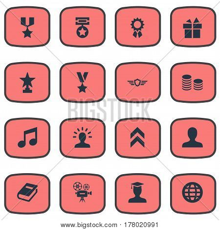 Vector Illustration Set Of Simple Champ Icons. Elements World, Guard, User And Other Synonyms Star, Gift And Award.