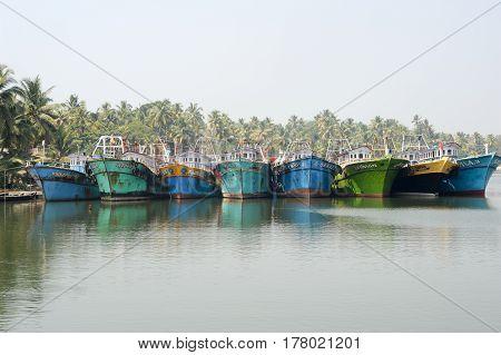 Kollam India - 20 January 2015: Fishing boat on the river near Kollam on Kerala backwaters India