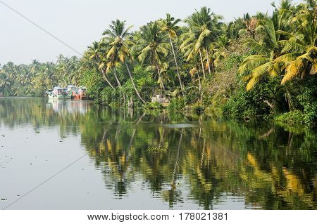 Fisherboat on the way from Kollam to Alleppey on Kerala India