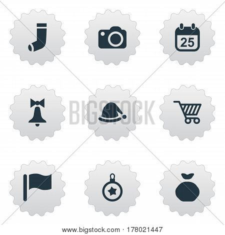 Vector Illustration Set Of Simple Celebration Icons. Elements Basket, Christmas Cap, Decoration And Other Synonyms Date, Shopping And Calendar.