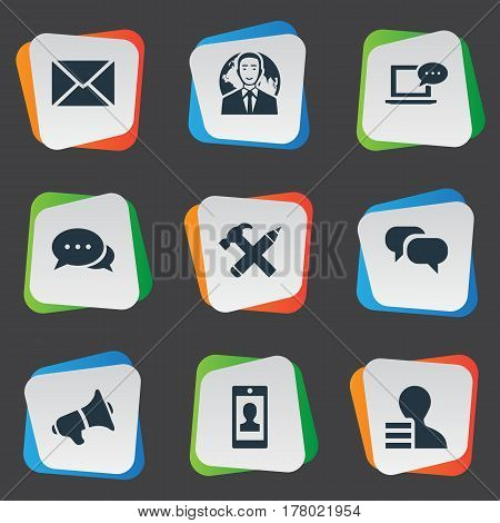 Vector Illustration Set Of Simple User Icons. Elements Repair, Laptop, Profile And Other Synonyms Missive, Hammer And Discussion.
