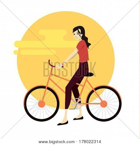 Active young man riding on bicycle. Design element. Flat illustration