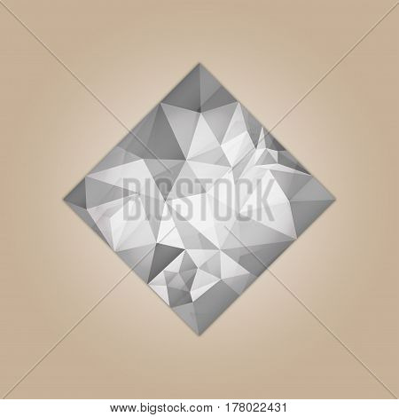 Diamond square shape grayscale color abstract polygonal vector illustration isolated on beige background