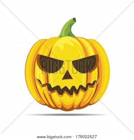 Happy halloween pumpkin with scary face vector isolated on white background