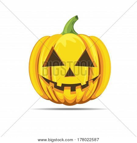 Happy halloween pumpkin smiling orange color vector isolated on white background