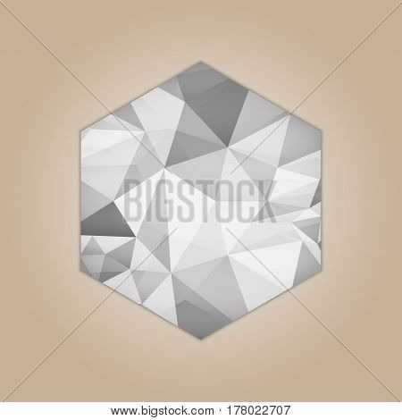 Diamond hexagon shape grayscale color abstract polygonal vector illustration isolated on beige background