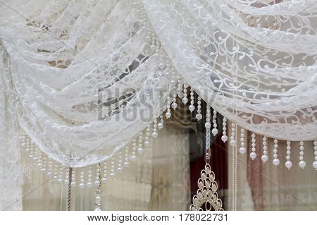 View Of A Fabric Store Window In Edirne, Turkey.