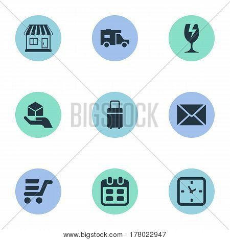 Vector Illustration Set Of Simple Distribution Icons. Elements Packaging, Caravan, Pushcart And Other Synonyms Date, Trade And Mail.