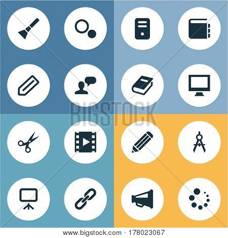 Vector Illustration Set Of Simple UI Icons. Elements Bullhorn, Book Print, Board And Other Synonyms Assessment, Film And Sample.