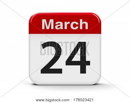 Calendar web button - The Twenty Fourth of March - World Tuberculosis Day three-dimensional rendering 3D illustration