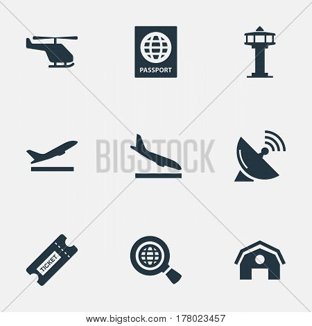Vector Illustration Set Of Simple Transportation Icons. Elements Global Research, Antenna, Air Transport And Other Synonyms Airplane, Earth And Certificate.