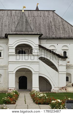 Porch in medieval palace courtyard old russian architecture