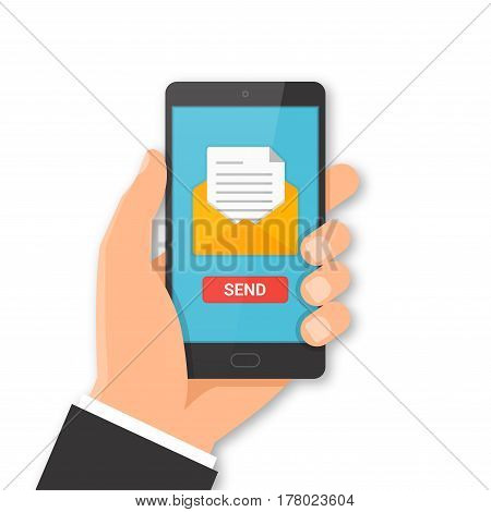 Smartphone email sending concept. Hand holding smartphone with email symbol on the screen. Vector illustration.