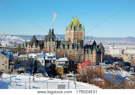 Quebec City skyline in winter, viewed from La Citadelle, Quebec City, Quebec, Canada.