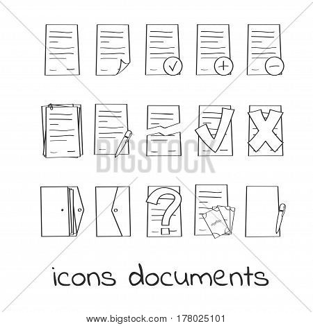 Hand draw icons of documents and contracts. Collection of Linear Marks of Securities. For web and app design