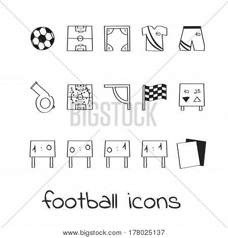 Hand draw icons football. Collection of linear signs of soccer. For web and app design