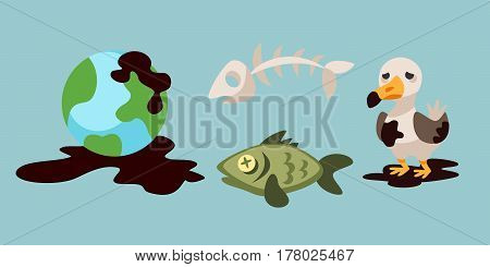 Ecological problems environmental oil pollution water earth air deforestation destruction of animals mills factories forest protection vector illustration. Toxic gasoline technology garbage concept.