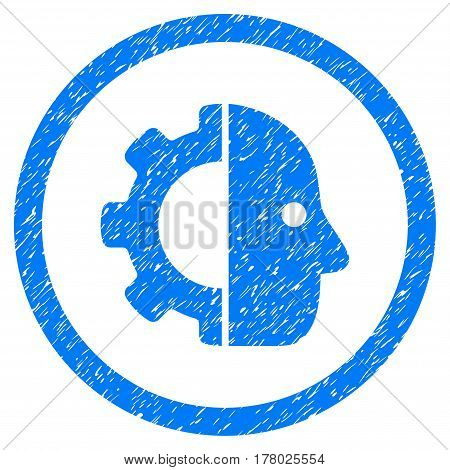 Cyborg grainy textured icon inside circle for overlay watermark stamps. Flat symbol with dirty texture. Circled dotted vector blue ink rubber seal stamp with grunge design on a white background.