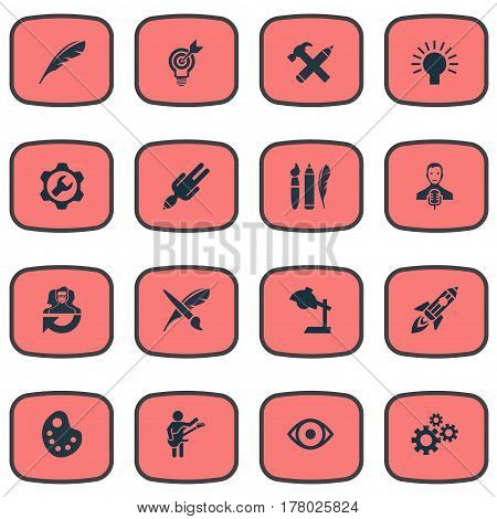 Vector Illustration Set Of Simple Creative Thinking Icons. Elements Project Aim, Apathy, Shuttle And Other Synonyms Music, Cooperation And Hammer.