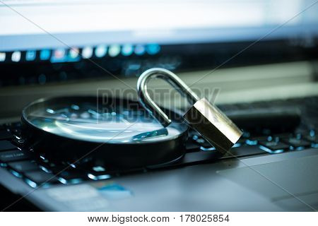 Magnifying glass and secure search on the internet concept