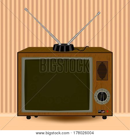Retro TV. An old thing. The antenna is telescopic. Room interior. Vector illustration