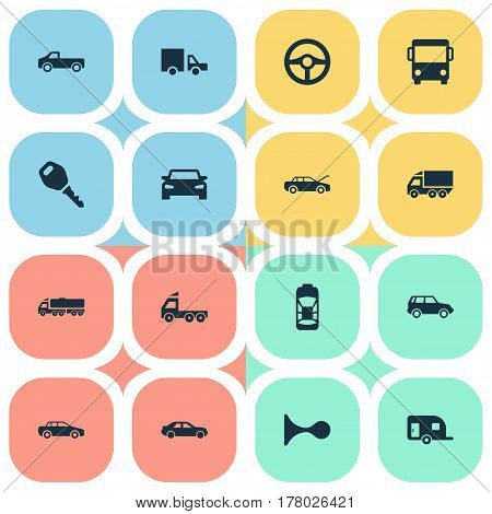 Vector Illustration Set Of Simple Auto Icons. Elements Camion, Automobile, Haulage And Other Synonyms Key, Trailer And Steering.