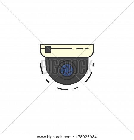 Round Surveillance Camera Vector Flat Icon. Sign For Infographic, Website Or App.