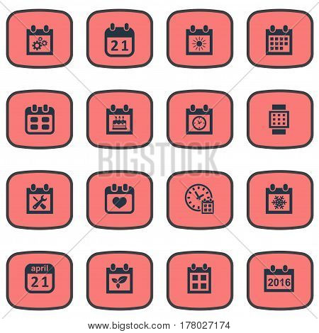 Vector Illustration Set Of Simple Plan Icons. Elements Plant, Summer Calendar, Planner And Other Synonyms Remembrance, Data And Watch.