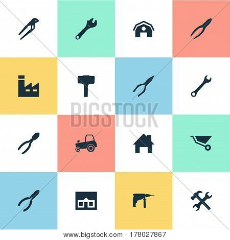 Vector Illustration Set Of Simple Wrench Icons. Elements Home, Workshop, Wrench And Other Synonyms Construction, Manufacture And Industry.