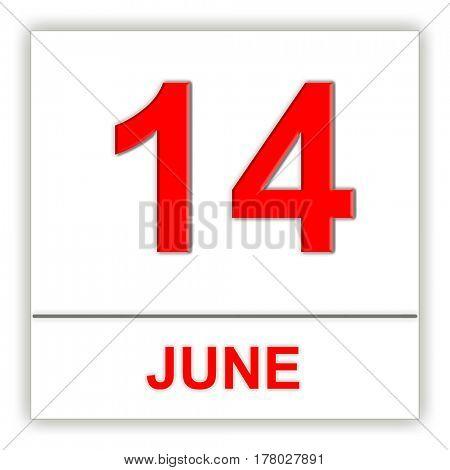 June 14. Day on the calendar. 3D illustration