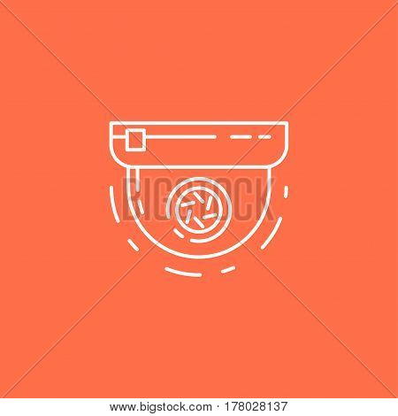 Round Surveillance Camera Vector Line Icon. Sign For Infographic, Website Or App.