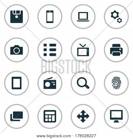 Vector Illustration Set Of Simple Digital Icons. Elements Photocopier, Options, Tuner And Other Synonyms List, Television And Monitor.