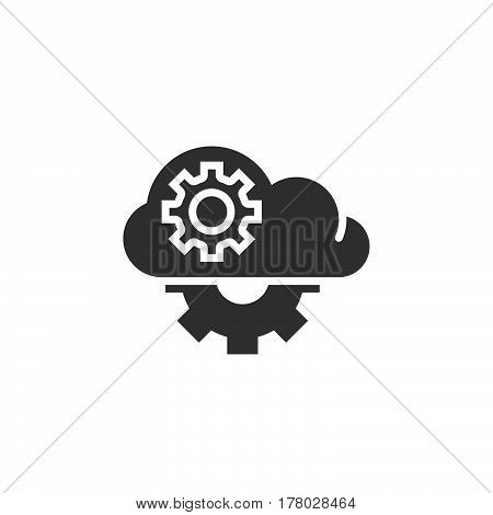 Cloud with gears icon vector filled flat sign solid pictogram isolated on white logo illustration