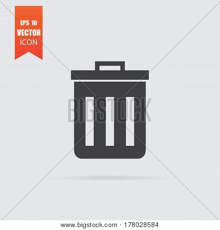 Trash Icon In Flat Style Isolated On Grey Background.