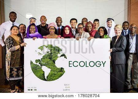 People holding network graphic overlay banner