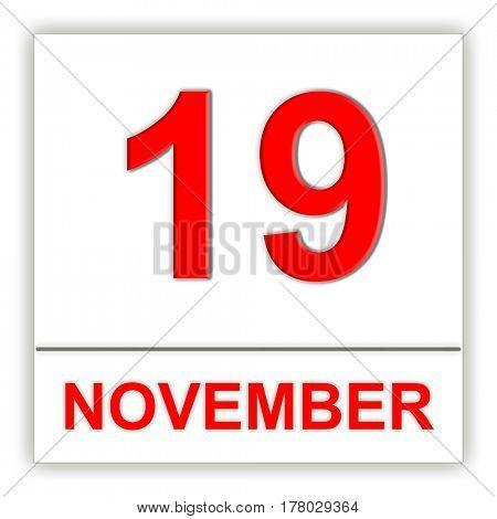 November 19. Day on the calendar. 3D illustration