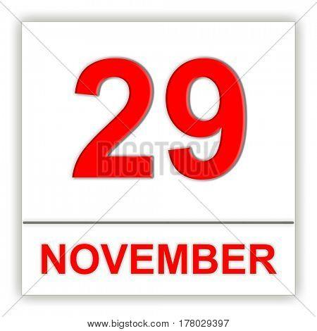 November 29. Day on the calendar. 3D illustration