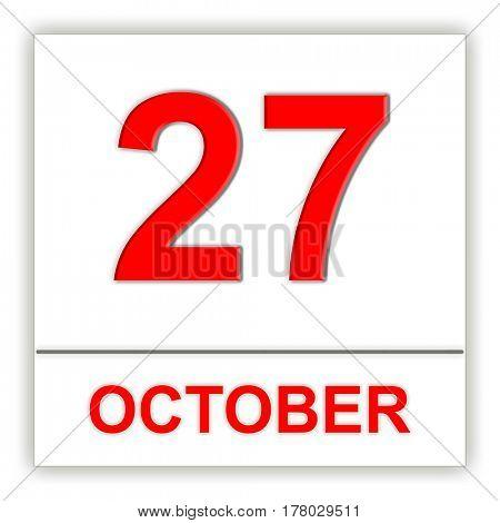 October 27. Day on the calendar. 3D illustration