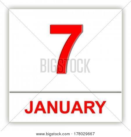 January 7. Day on the calendar. 3D illustration